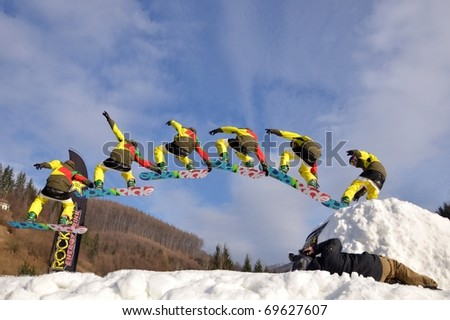 KOSUTKA, SLOVAKIA - JANUARY 23: Racer of Slovak republic participates in the Big air January 23, 2011 in Kosutka, Slovakia. - stock photo