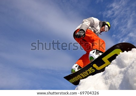 KOSUTKA, SLOVAKIA - JANUARY 23: Radko Dubovy of Slovak republic participates in the Big air January 23, 2011 in Kosutka, Slovakia. - stock photo