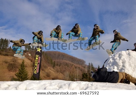 KOSUTKA, SLOVAKIA - JANUARY 23: Rider of Slovak republic participates in the Big air January 23, 2011 in Kosutka, Slovakia. - stock photo