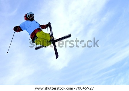 KOSUTKA, SLOVAKIA - JANUARY 23: Roman Kovac of Slovak republic participates in the Big air January 23, 2011 in Kosutka, Slovakia. - stock photo