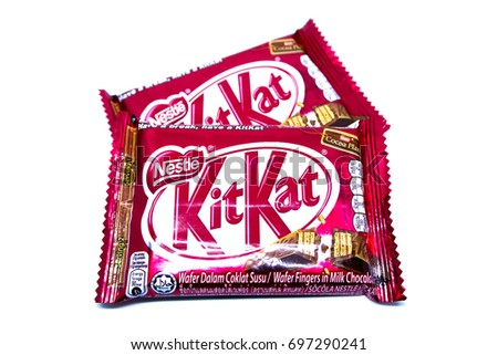 Kota Kinabalu, Malaysia - August 16, 2017: Kit Kat Chocolate Milk Wafer isolated on white background. Kit Kat bars are produced by Nestle. Brand Kit Kat was registered in 1911.