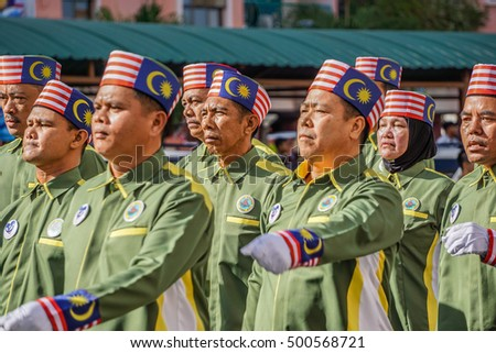 Kota Kinabalu,Sabah-Aug 31,2016:Happy Malaysians wearing colorful costume celebrating the Malaysia National Day at Kota Kinabalu,Sabah,Borneo,Malaysia on 31st Aug 2016.