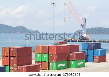 Kota Kinabalu Sabah Malaysia - Feb 15, 2016:Container handling at Sabah Port Sapanggar Port pictured on Feb 15, 2016.Sapanggar Port is a major container hub for Borneo.