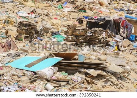 Kota Kinabalu Sabah Malaysia - Mar 17, 2016:Closeup picture of  domestic waste at Kayu Madang landfill dumping site in Kota Kinabalu Sabah Malaysia pictured on Mar 17, 2016. - stock photo