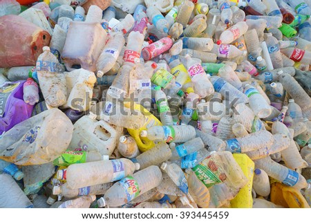 Kota Kinabalu Sabah Malaysia - Mar 19, 2016 : Various type of recylable plastic bottle collected by scavenger at Kayu Madang landfill dumping site in Kota Kinabalu Sabah pictured on Mar 19, 2016. - stock photo