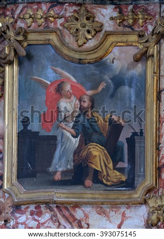 KOTARI, CROATIA - SEPTEMBER 16: Saint Matthew the Evangelist on pulpit in the church of Saint Leonard of Noblac in Kotari, Croatia on September 16, 2015.