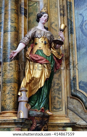 KOTARI, CROATIA - SEPTEMBER 16: Statue of Saint Barbara on the Saint Mary altar in the church of Saint Leonard of Noblac in Kotari, Croatia on September 16, 2015.
