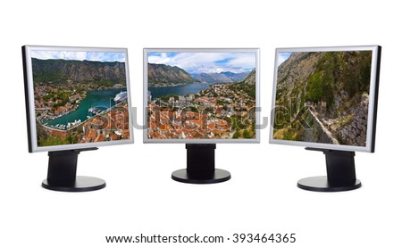 Kotor Bay panorama in Montenegro (my photo) on computer monitors - isolated on white background - stock photo