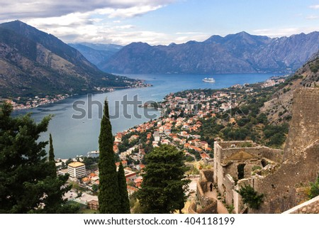 Kotor fortress, a view of the old town