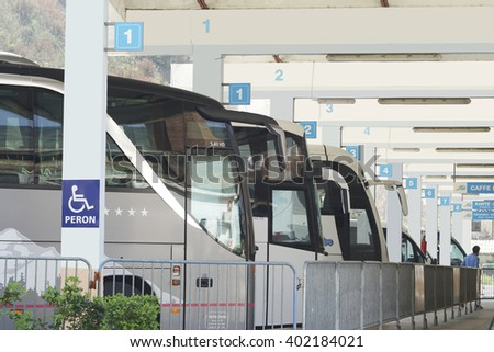 Kotor, Montenegro, April, 03, 2016: Bus station with buses in Kotor, Montenegro