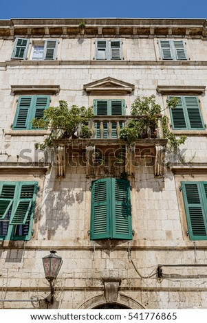 Kotor, Montenegro - June 18, 2016: Old house in the city of Kotor on June 18, 2015 in Kotor, Montenegro