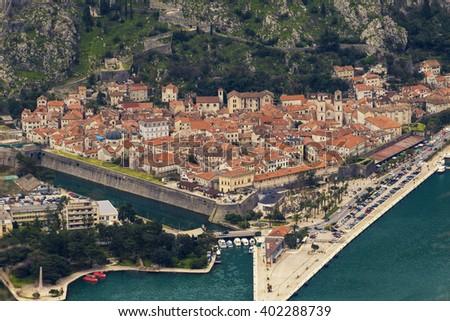 Kotor old city in Montenegro adreatic sea - stock photo
