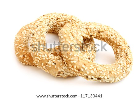 Koulouri - traditional Greek bread on a white background