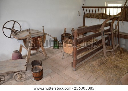 KOURIM - MAY 24: Interior of village house from the 18th century, Czech republic. Open-air museum of folk architecture, Kourim. May 24, 2014 - stock photo