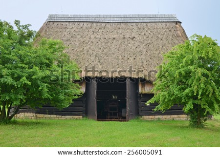 KOURIM - MAY 24: Traditional barn from the 17th century, Czech republic. Open-air museum of folk architecture, Kourim. May 24, 2014 - stock photo