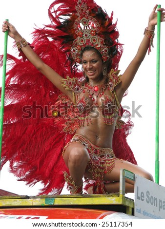 KOUROU, FRENCH GUIANA - FEBRUARY 15: this Brazilian dancer participates in the main carnival parade February 15, 2009 in Kourou, French Guiana. - stock photo