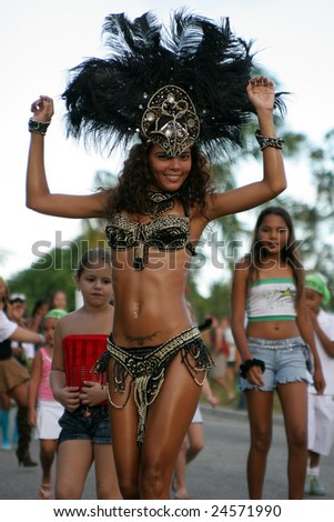 KOUROU, FRENCH GUIANA - FEBRUARY 04: this woman participates in a carnival parade February 04, 2007 in Kourou, French Guiana. - stock photo