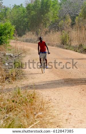 Biker Riding On Cycling Road Through Stock Photo 278239451