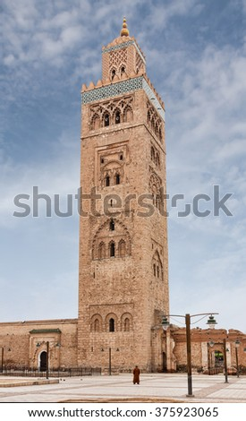 Koutoubia Minaret or Kutubiyya Mosque in the medina quarter of Marrakech in Morocco