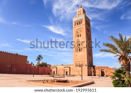 Koutoubia mosque in marrakech morocco - stock photo