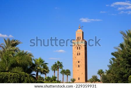 Koutoubia Mosque Minaret in Marrakesh city, Morocco. - stock photo