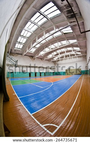 KOVEL, UKRAINE - SEPTEMBER 21: gym hall interior on September 21, 2014 in Kovel, Ukraine. Schooling typically begins at age 6 in Ukraine and 11 years of schooling are mandatory. - stock photo