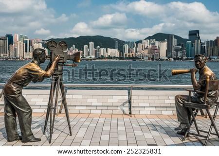 Kowloon , Hong Kong, China- June 9, 2014: statues Avenue of Stars Tsim Sha Tsui Kowloon in Hong Kong - stock photo