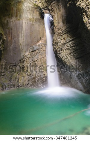 Kozjak waterfall, Triglav national park, Slovenia - stock photo