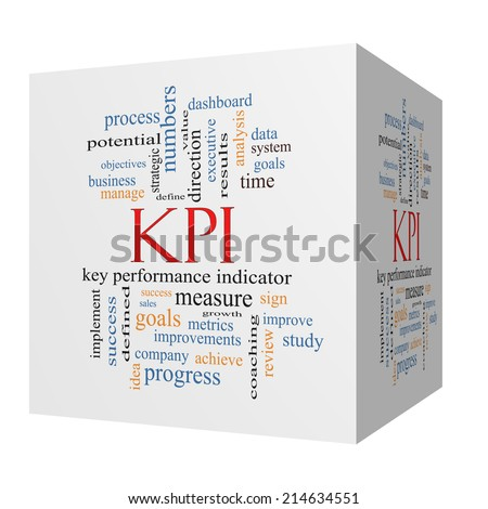 KPI 3D cube Word Cloud Concept with great terms such as key, performance, indicators and more. - stock photo