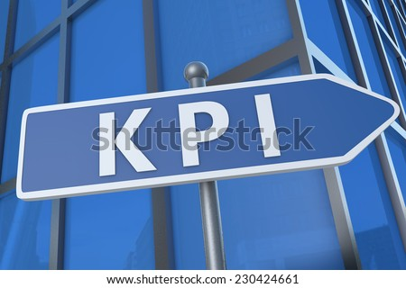 KPI - Key Performance Indicator - illustration with street sign in front of office building. - stock photo