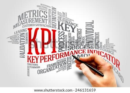 KPI - key performance indicator word cloud, business concept - stock photo