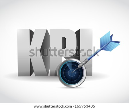 kpi radar sign illustration design over a white background - stock photo
