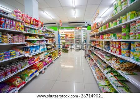 Krabi, 31 january 2015: FamilyMart supermarket in Klong Muang district, Krabi province, Thailand.   FamilyMart is largest  convenience store franchise chain origin from Japan. - stock photo
