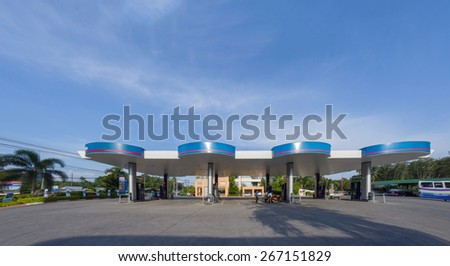 Krabi, 19 january 2015: PTT gas station in Sai Thai, Krabi province, Thailand. PTT is largest oil company in Thailand