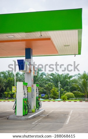 Krabi, 21 october 2014: Bangchak gas station in north district of Krabi province, Thailand. Bangchak is one of largest oil company in Thailand