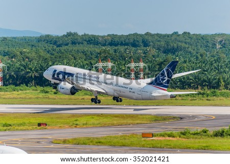 Krabi, Thailand - December 13,2015 : Polish airlines plane take off from Krabi airport in sunny day