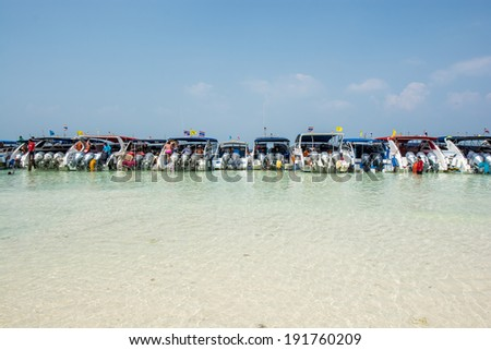 KRABI, THAILAND MARCH 28, 2014 :The speed boats waiting tourist on bay of Phi Phi island in Krabi Thailand. - stock photo