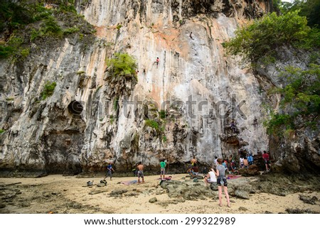Krabi, Thailand, Nov 11, 2012 : Rock Climbing Railay Beach- Andaman sea Krabi Thailand