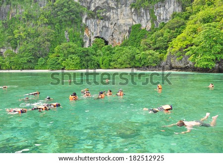 KRABI, THAILAND -Â?Â? NOVEMBER 3 : Tourists snorkeling in the sea on November 3, 2012 in Krabi, Thailand. Koh Yung or Yung Island  is teeming with various kinds of colourful coral reefs.