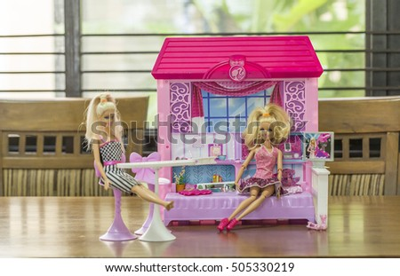 KRABI, THAILAND - OCTOBER 19: Barbies in the doll house on October 19, 2016 in Krabi, Thailand.