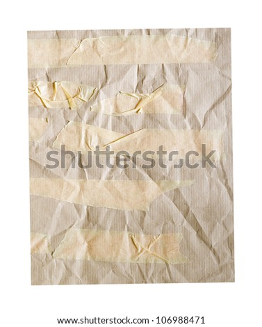 kraft paper background, adhesive tape, free copy space - stock photo