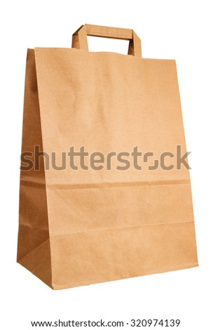 Kraft paper bag isolated on white background - stock photo