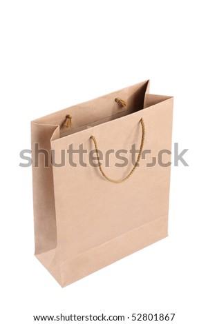 kraft shopping bag - stock photo