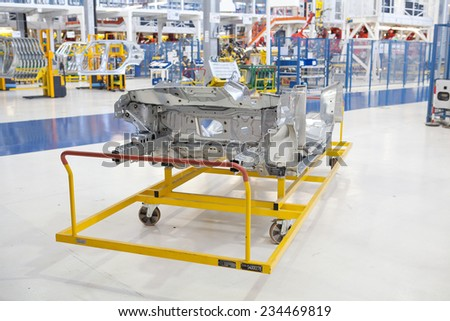 KRAGUJEVAC, SERBIA - CIRCA APRIL 2012: details of industry at Fiat Cars Serbia factory. - stock photo