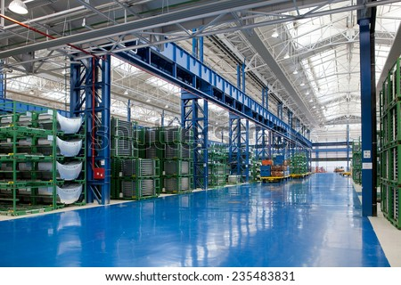 KRAGUJEVAC, SERBIA - CIRCA APRIL 2012: industrial building interior at Fiat Cars Serbia factory. - stock photo