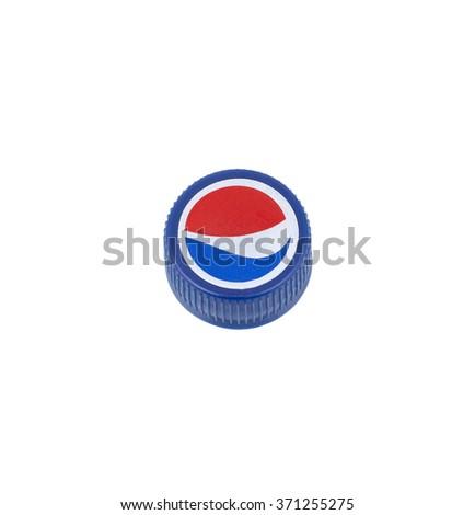 Kragujevac, Serbia - January 20th, 2016:  Pepsi-Cola plastic cap on white background