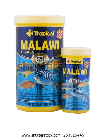 Kragujevac, Serbia - March 17th, 2015: One package Tropical Malawi flake food for cichlids from lake Malawi. This is gerat aquarium food for this species fish from Poland.