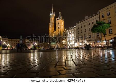 Krakow main square - stock photo
