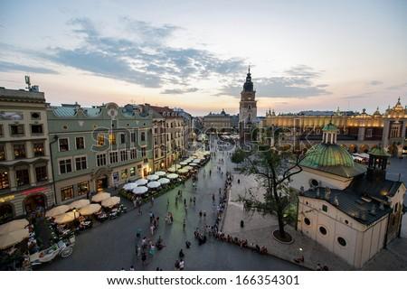 Krakow market square, Poland at sunset - stock photo
