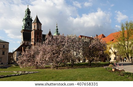 KRAKOW, POLAND - APR 22, 2015: Krakow - Wawel Hill, the spring magnolias on a hill castle on Wawel